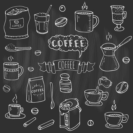 Hand drawn doodle of Coffee time icons set