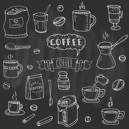 Hand getrokken doodle van koffie tijd pictogrammen instellen