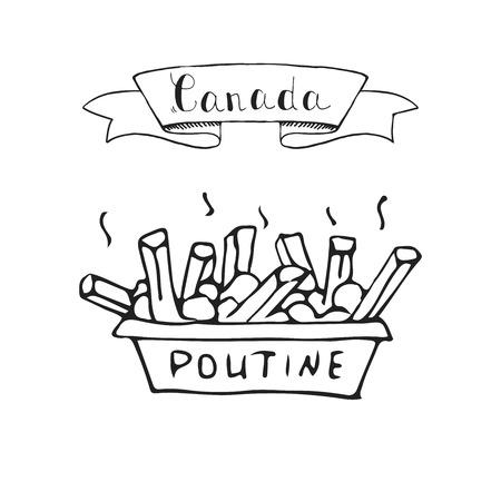손으로 그린 낙서 Poutine 아이콘 전통적인 퀘벡 식사와 감자 튀김 그 육즙과 치즈 조각 벡터 일러스트 레이 션