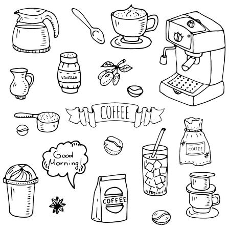 Hand drawn doodle of Coffee time icons set Reklamní fotografie - 92573127