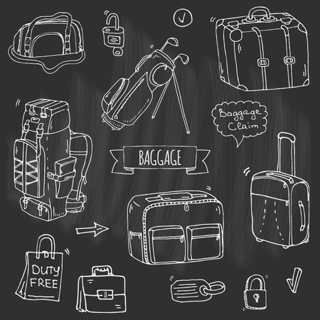 Hand drawn doodle of Baggage icons set