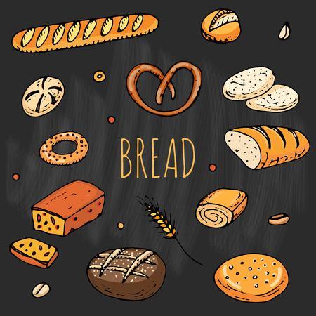 Gribouillis dessinés à la main de pain de style dessin animé Banque d'images - 92573133