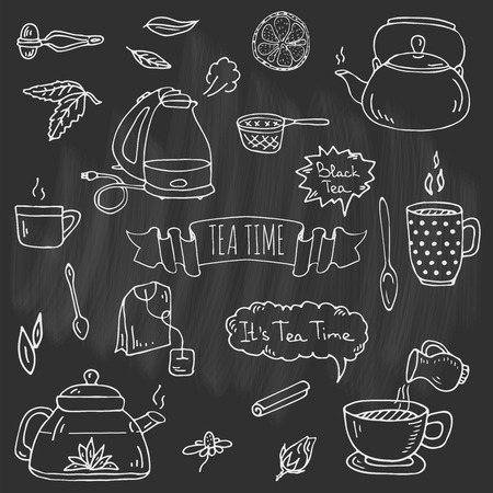Hand drawn doodle Tea time icons set