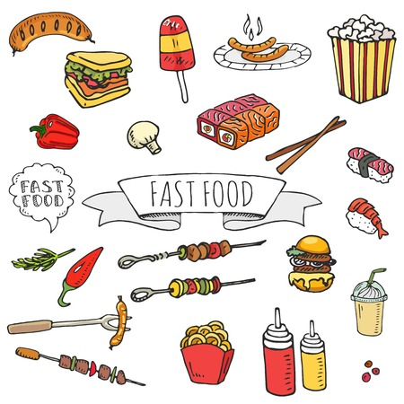 Hand drawn doodle Fast food icons set