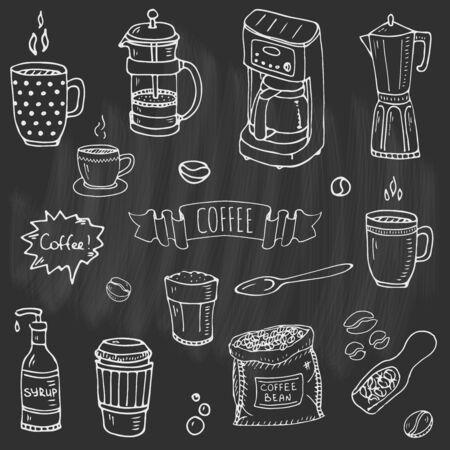 Hand getrokken doodle koffie tijd pictogrammen instellen