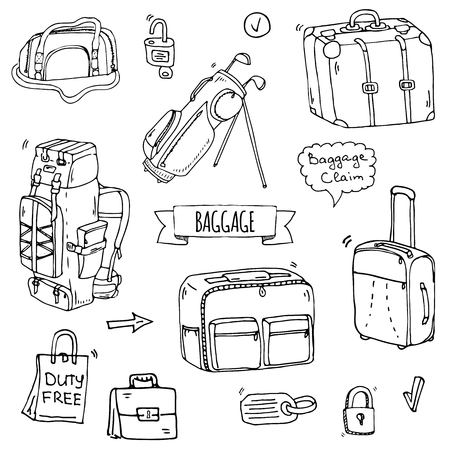 Hand drawn doodle Baggage icons set