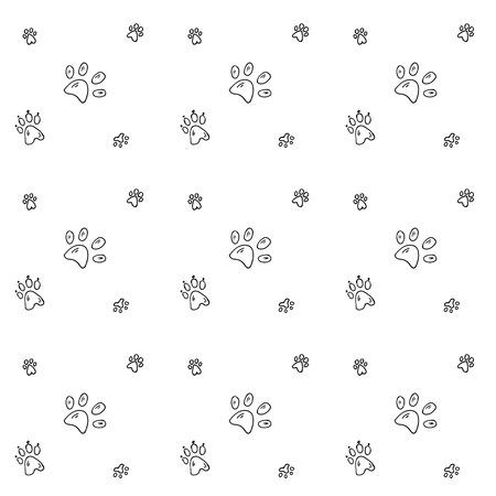 Seamless background with Hand drawn doodle Pets' paw icons Ilustração