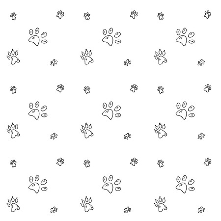 Seamless background with Hand drawn doodle Pets' paw icons Illustration