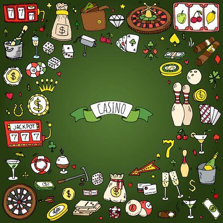 Hand getrokken doodle set Casino-pictogrammen Stock Illustratie