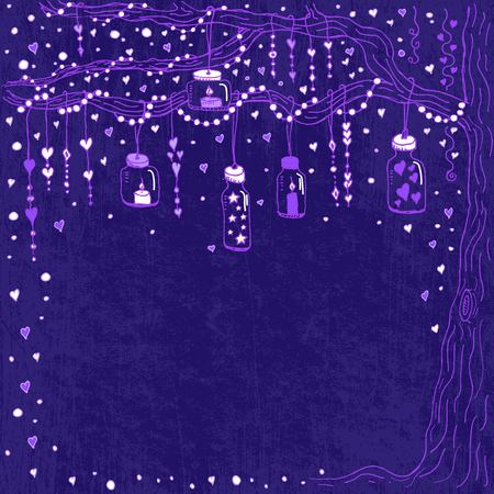 Unique vector wedding card template with hand drawn tree decorated with lantern, hearts, candle, garland, wedding invitation, save the date, RSVP for bridal design, romantic event Natural style Violet