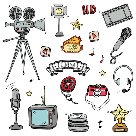 Hand drawn doodle cinema set vector illustration. Movie making icons, film symbols collection. Cinematography freehand elements: camera, film tape, photo camera, pizza, popcorn, projector, microphone.