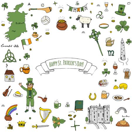 Happy St. Patricks Day hand drawn doodle Ireland set vector illustration. Sketchy Irish traditional food icons elements flag, map, Celtic cross, knot, castle, leprechaun, shamrock, harp, pot of gold. Illustration