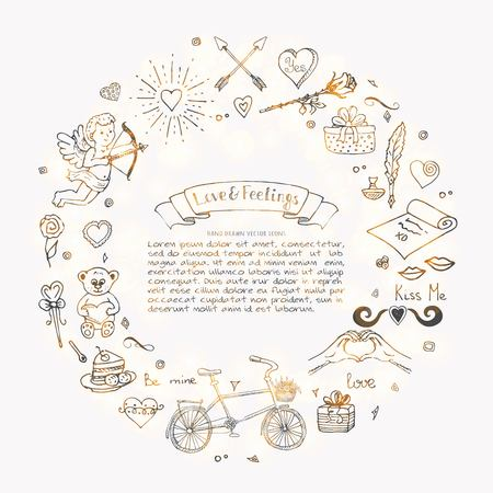 Hand drawn doodle love and feelings collection vector illustration. Sketchy lovely icons big set for Valentines day, Mothers day, wedding, happy and romantic events. Hearts, flowers, cupid and bouquet.
