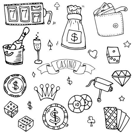 Hand drawn doodle set of casino icons vector illustration set. Sketchy game elements collection: bet, jackpot, cards, chips, coins, darts, roulette, poker, money, slot.