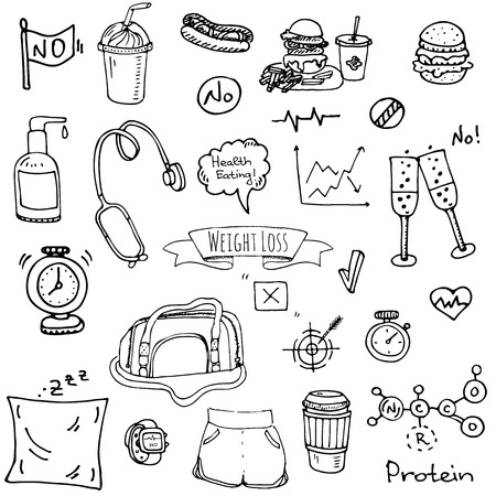Hand drawn doodle weight loss icons set vector illustration. Dieting symbols collection. Cartoon sketch elements diet sport equipment healthy food eating nutrition protein carbs fats chemical formula.