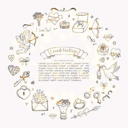 Hand drawn doodle love and feelings collection vector illustration. Sketchy lovely icons big set for Valentines day, Mothers day, wedding, happy and romantic events. Ilustração