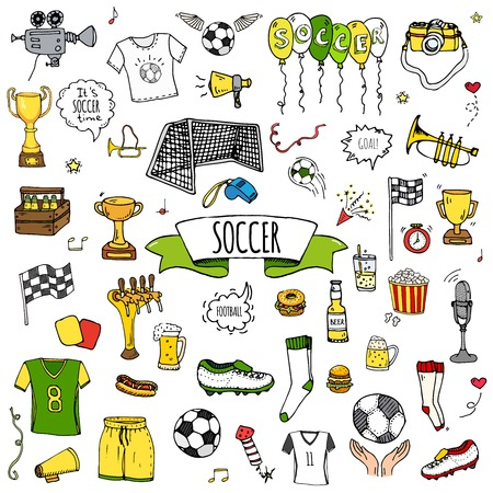 Hand drawn doodle soccer set vector illustration. Sketchy sport traditional icons. Cartoon typical football elements collection football ball, cleats, goal, trophy, whistle, gloves, boots isolated. Reklamní fotografie - 96588652
