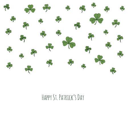 Happy St. Patrick's day hand drawn doodle Ireland emerald shamrock set vector illustration. Sketchy Irish traditional floral icons elements background for invitation, greeting cards, green trefoil. Reklamní fotografie - 96588654