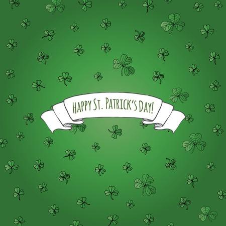 ハッピーセントパトリックの日の手描きの落書きアイルランドエメラルドシャムロックセットベクトルイラスト。スケッチアイルランドの伝統的な  イラスト・ベクター素材