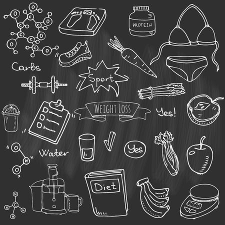 Hand drawn doodle weight loss icons set vector illustration. Dieting symbols collection cartoon sketch elements diet sport equipment. Healthy food eating nutrition protein carbs fats chemical formula.