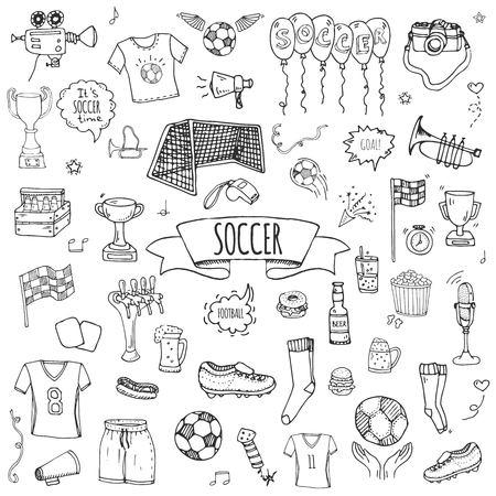 Hand getrokken doodle voetbal set vectorillustratie. schetsmatige sport traditionele pictogrammen. cartoon typische voetbal elementen collectie voetbal, schoenplaten, doel, trofee, fluitje, handschoenen, laarzen geïsoleerd.