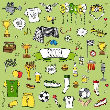 손으로 그린 낙서 축구 벡터 일러스트 레이 션을 설정합니다. 스케치 스포츠 전통적인 아이콘입니다. 만화 전형적인 축구 요소 컬렉션 축구 공, 클리트
