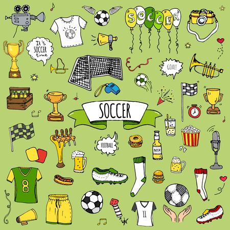 Hand drawn doodle soccer set vector illustration. Sketchy sport traditional icons. Cartoon typical football elements collection Football ball, cleats, goal, trophy, whistle, gloves, boots isolated.