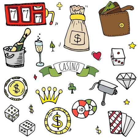 Hand drawn doodle set of casino icons vector illustration set. Cartoon gambling symbols. Sketchy game elements collection bet, jackpot, cards, chips, coins, darts, roulette, poker, money, slot.