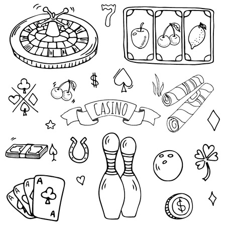 Hand drawn doodle set of casino icons vector illustration set. Cartoon gambling symbols. Sketchy game elements collection bet, jackpot, cards, chips, coins, darts, roulette, poker, money, slot. Фото со стока - 96618571
