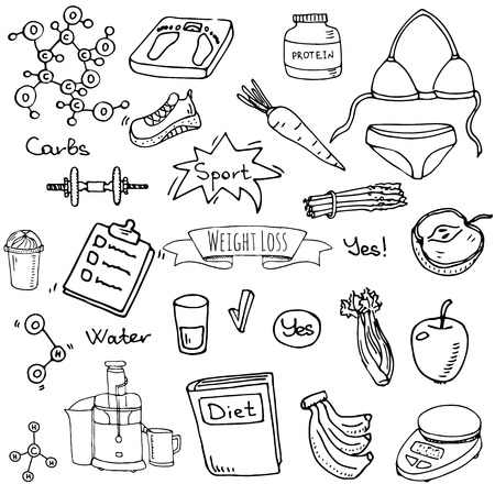 Hand drawn doodle Weight loss icons set vector illustration dieting symbols collection. Cartoon sketch elements diet sport equipment. Healthy food eating nutrition protein carbs, fats, chemical formula.