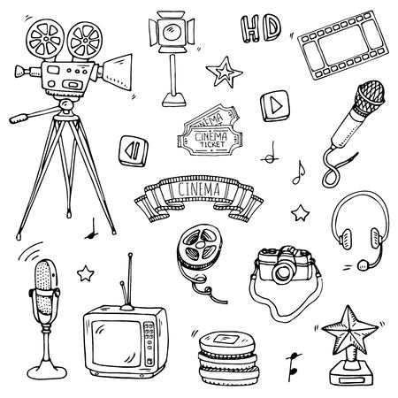 Hand drawn doodle cinema set vector illustration. Movie making icons, film symbols collection. Cinematography freehand elements, camera, film tape, photo camera, pizza, popcorn, projector, microphone.