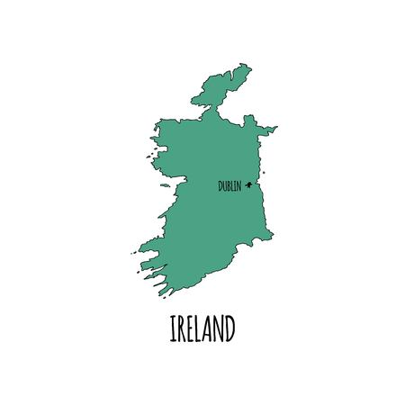 Hand drawn doodle Ireland country map icon vector illustration isolated on white background. Sketchy Irish traditional outer borders symbol emerald island green color.