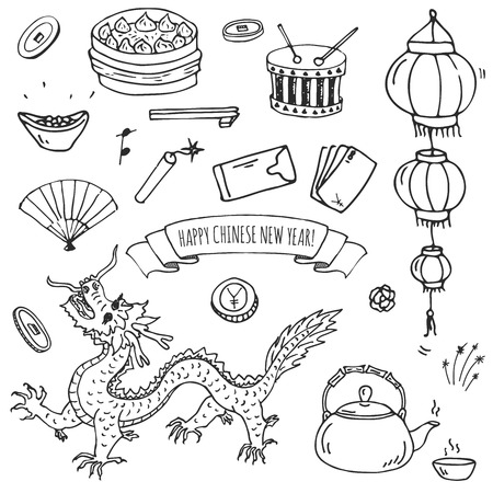 Hand drawn doodle Happy Chinese New Year icons set vector illustration. Asian lunar festival collection. Cartoon sketch celebration elements, firecracker, golden coin, money envelope, dragon, lantern,