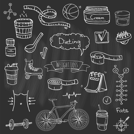Hand drawn doodle weight loss icons set vector illustration dieting symbols collection. Cartoon sketch elements diet sport equipment. Healthy food eating nutrition, protein, carbs, fats, chemical formula. Illustration