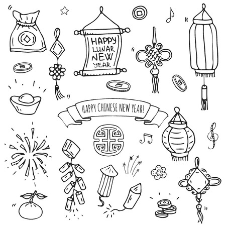 Hand drawn doodle Happy Chinese New Year icons set vector illustration. Asian lunar festival collection. Cartoon sketch celebration elements firecracker, golden coin, money envelope, dragon, lantern.