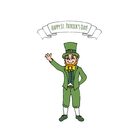 Happy St. Patrick's day, hand drawn doodle Ireland leprechaun icon vector illustration. Sketchy Irish traditional element isolated on white background. Banque d'images - 96618692
