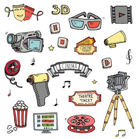 Hand drawn doodle cinema set vector illustration. Movie making icons,film symbols collection. Cinematography freehand elements camera, film tape, photo camera, pizza, popcorn, projector, microphone.