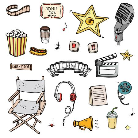 Hand drawn doodle cinema set vector illustration. Movie making icons, film symbols collection. Cinematography freehand elements camera, film tape, photo camera, pizza, popcorn, projector, microphone. Illustration
