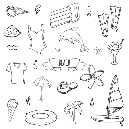 Hand drawn doodle Beach set icons Vector illustration