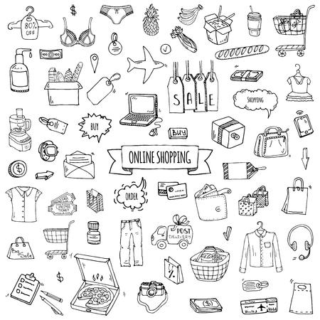 Ręcznie rysowane zbiory zestaw ikon zakupy online. Zestaw ilustracji wektorowych. Symbole zakupów kreskówek. Kolekcja elementów szkicowych: laptop, wyprzedaż, jedzenie, sklep spożywczy, odzież, koszyk, portfel, karta kredytowa, przywieszka, torba Ilustracje wektorowe