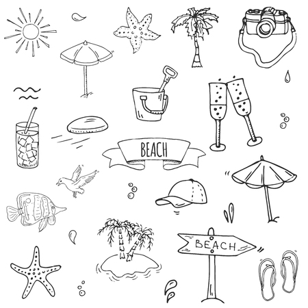 Hand drawn doodle Beach set icons Vector illustration Sketchy summer vacation elements collection Isolated holiday objects Cartoon sea relax journey symbols Summertime traveling background  Illustration