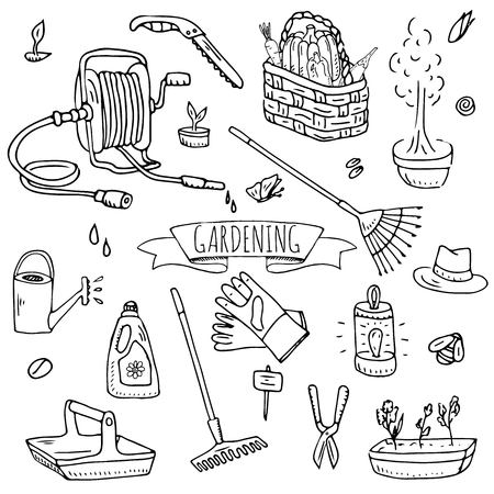 Hand drawn doodle set of Gardening icons.