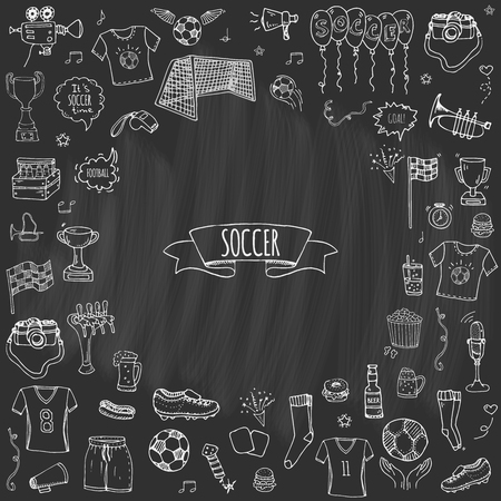Hand drawn doodle Soccer set Vector illustration Sketchy sport traditional icons Cartoon typical football elements collection Football ball, cleats, goal, trophy, whistle, gloves, boots isolated Vettoriali