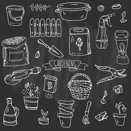 Hand drawn doodle set of Gardening icons. Vector illustration set. Cartoon Garden symbols. Sketchy elements collection: lawnmower, trimmer, spade, fork, rake, hoe, trug, wheelbarrow, hose reel. Archivio Fotografico - 99155693