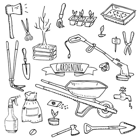 Hand drawn doodle set of Gardening icons. Stock Vector - 99182680