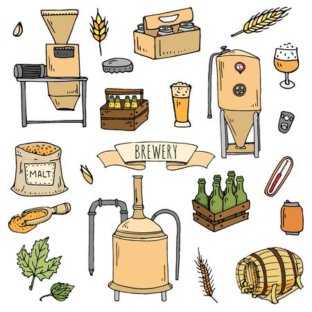 Hand drawn doodle set of Brewery icons. 向量圖像