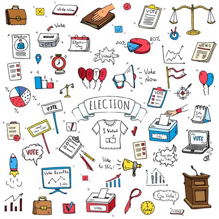 Ręcznie rysowane doodle zestaw ikon głosowania. Ilustracje wektorowe