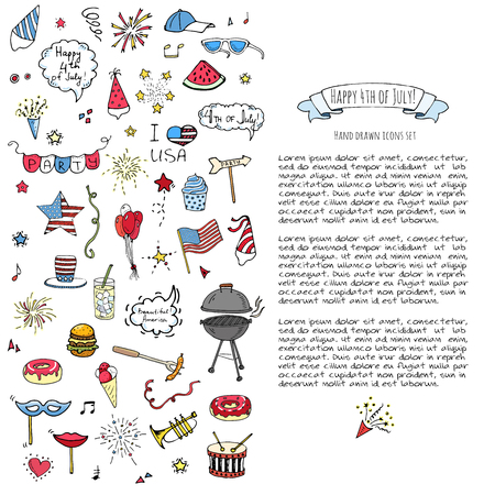 Hand drawn doodle Happy 4th of July icons set Vector illustration USA independence day symbols collection