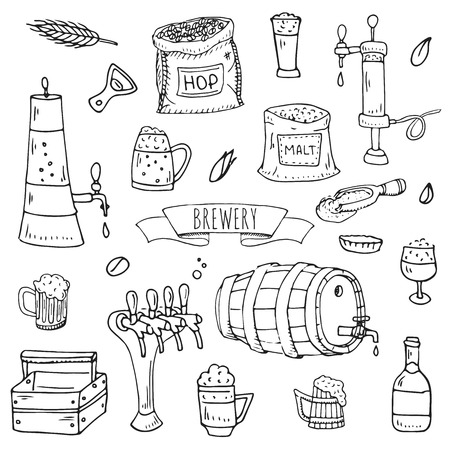 Hand drawn doodle set of Brewery icons. Illustration