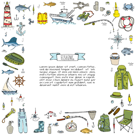 Hand drawn doodle Fishing icons set. Vector illustration. Cartoon catching fish equipment elements collection: Rod, Baits, Spinning, Lure, Inflatable Boat, Yacht, Lighthouse, Cloth, Safety jacket. Banco de Imagens - 100314305